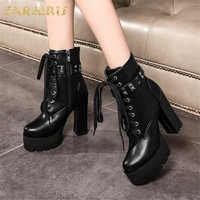 SARAIRIS 2018 Large Size 33 43 Woman Motorcycles Boots Fashion Cool High Heels Ankle Boots Flatform women's Shoes Booties