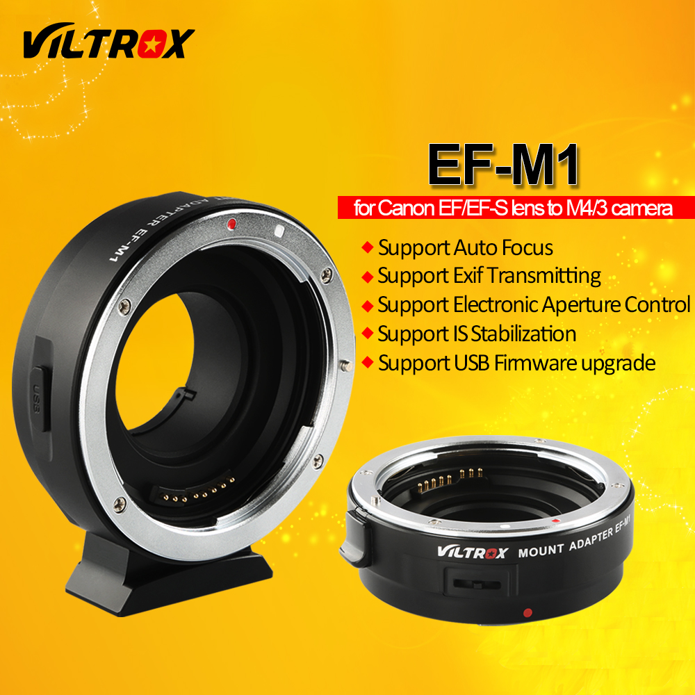 Viltrox EF-M1 Auto Focus Exif Lens Adapter for Canon EOS EF EF-S Lens to M4/3 Camera GH5GK GH85GK GF7GK GX7 E-M5 II E-M10 III viltrox nf m43x focal reducer speed booster adapter turbo w aperture for nikon lens to m4 3 camera gh4 gh5gk gh85gk gf7gk gx7
