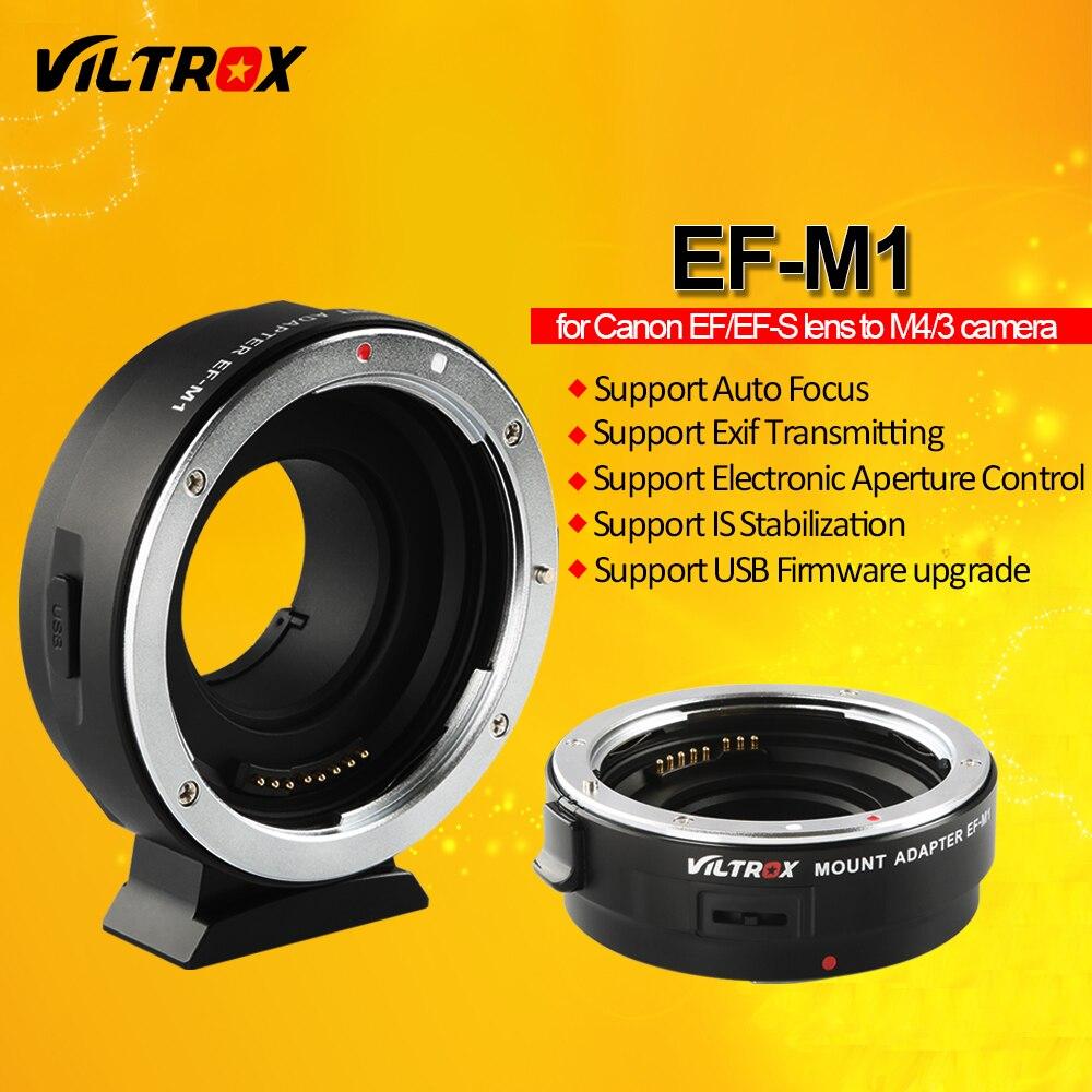 Viltrox EF-M1 de enfoque automático Exif adaptador de lente para Canon EOS EF EF-S lente para M4/3 Cámara GH5GK GH85GK GF7GK GX7 E-M5 II E-M10 III
