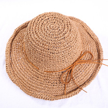 87f0ee350 Summer Straw Hat For Women Wide Brim Beach Hats Female Sun Protection Hand  Woven Sun Hat