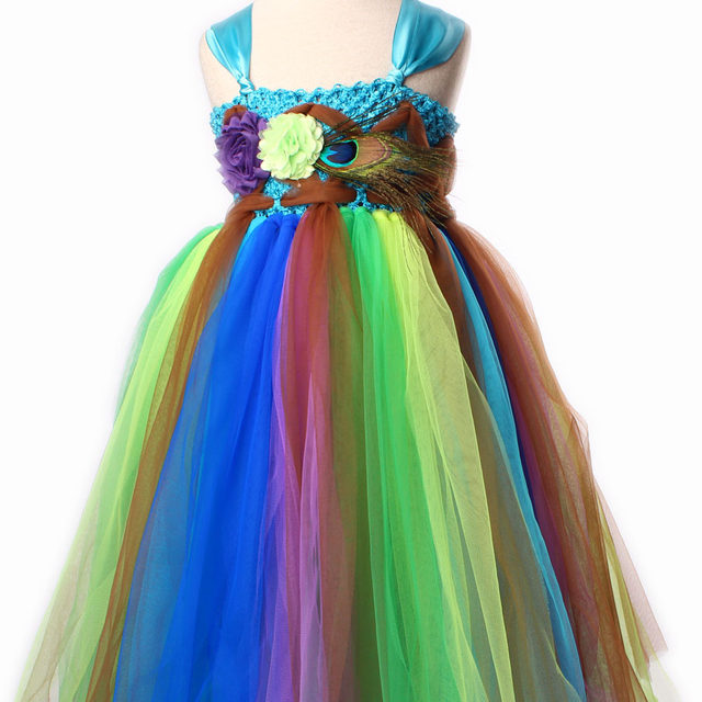 ... Fairy Peacock Girls Tutu Dress Kids Holiday Party Pageant Ball Gown  Flower Girls Dress Wedding Dress ... 5c95ca377e39