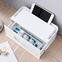 Plastic Drawer Type Storage Box Power Cable Plug Data Line Container Simple Nordic Three way Opening Storage Box Home Organizer