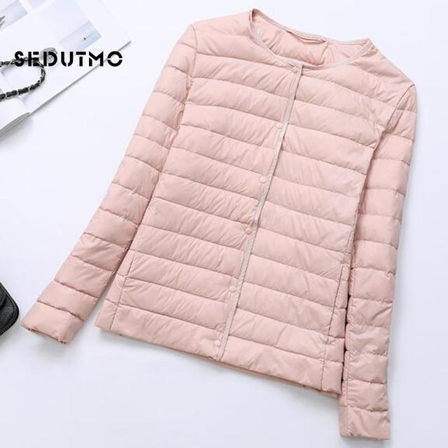 SEDUTMO Winter Women Duck Down Jacket Ultra Light Coat Short Autumn Slim Casual Puffer Outwear ED617 2