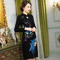 New Arrival Women's Woolen Satin Mini Cheongsam Fashion Chinese Dress Elegant Slim Long Sleeve Qipao Vestido Size M L XL