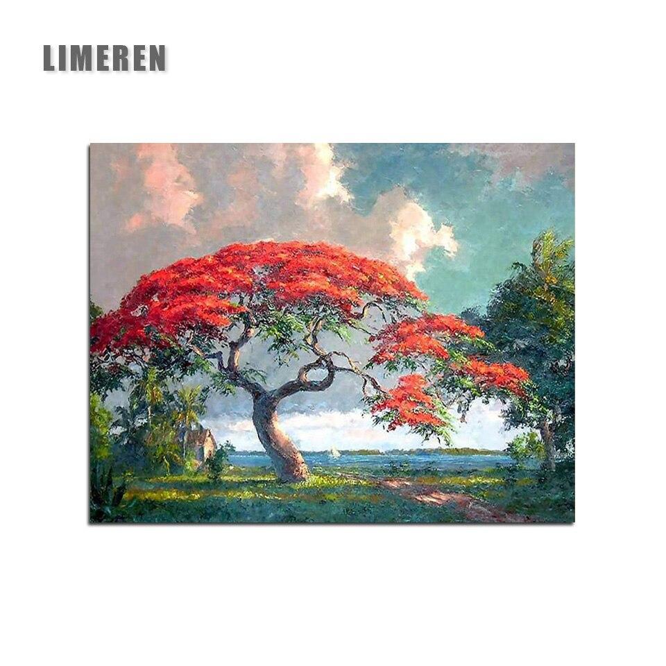 Venda quente Pintura Por Numeros de Bordo Vermelho Árvore Acrílico Pintura Digital Por Números Na Lona Para Home Decor