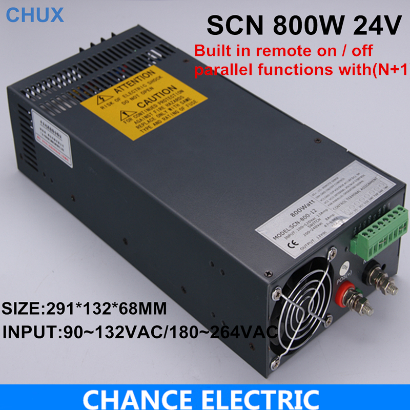 parallel functions with(N+1)switching power supply 24V 33A 800W 110~230VAC single output for cnc cctv led light(SCN-800W-24V)