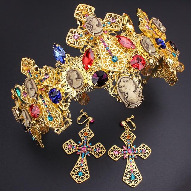 Shiny Crystal Rhinestone Stone Cross Cown Hair Clip Bridal Hair Accessories Wedding Crown Headband Pageant Tiara Earrings Set