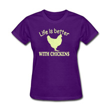 T-Shirts Life Is Better With Chickens Fashion Tumblr Funny Harajuku Punk Clothes T-shirts for Women Bts TShirt Female Tops