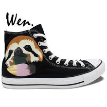 Wen Hand Painted Shoes Animal Sloth Boys Girls Christmas Gifts High Top Men Women's Canvas Sneakers
