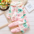 2016 new autumn Baby Clothes Girl Suits Cute Flowers Print Cotton Tops Hooded jacket +Pants 2 Pcs brand Suits Freeshipping