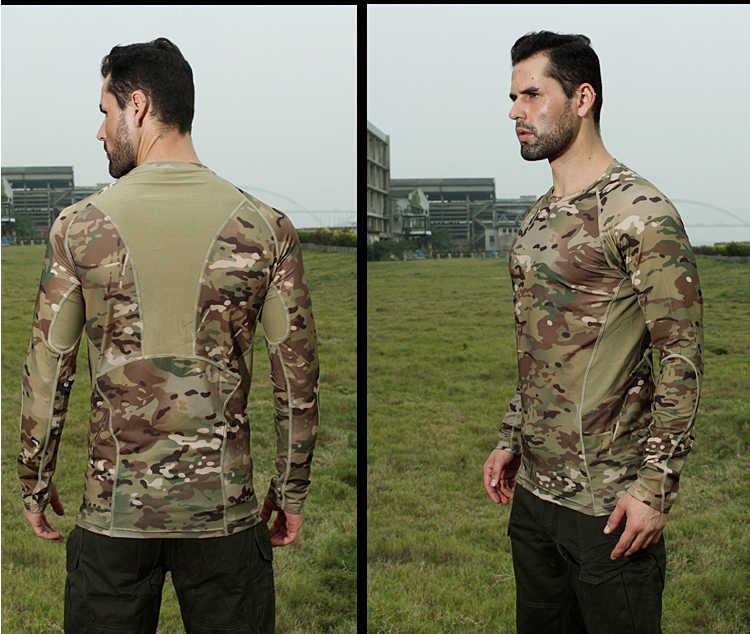 Nova Camuflagem Malha Quickdry Elástica T-shirt O-pescoço de Manga Comprida T-shirt MC MTP MCA