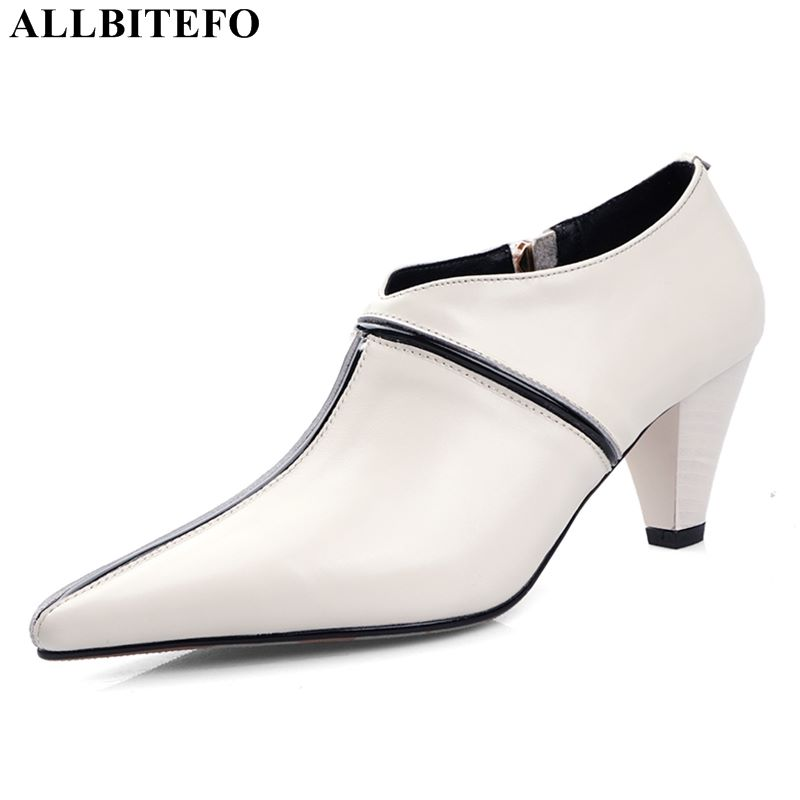 ALLBITEFO Natural Genuine Leather High Heels Women Heels Office Ladies Shoes High Heel Shoes Pointed Toe Spring Autumn