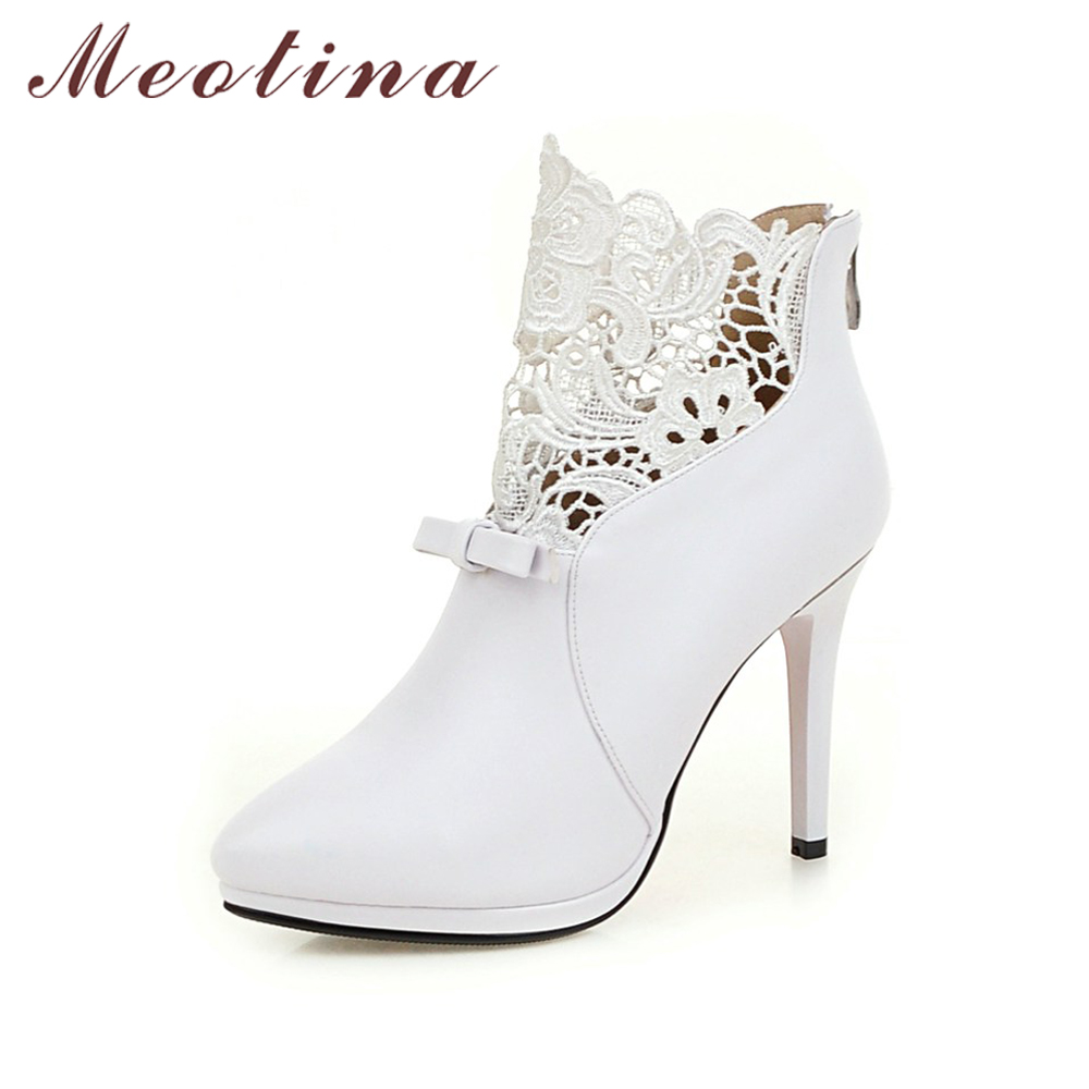 Meotina Ankle Boots Women Lace High Heels Boots Platform Thin Heel Shoes Bow Pointed Toe Zip Boots Ladies Sexy Party Botas White 2016 custom made fashion brown short ankle boots for women pointed toe lace up platform thin heels stiletto ladies buckle boots