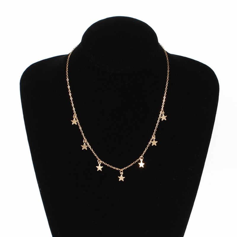 Vòng Cổ ngôi sao Nữ Choker Kolye Vàng Bạc Mặt Trăng Cổ Boho Mặt Dây Chuyền Collier Femme Phối Xích collares de Moda 2019 Mới