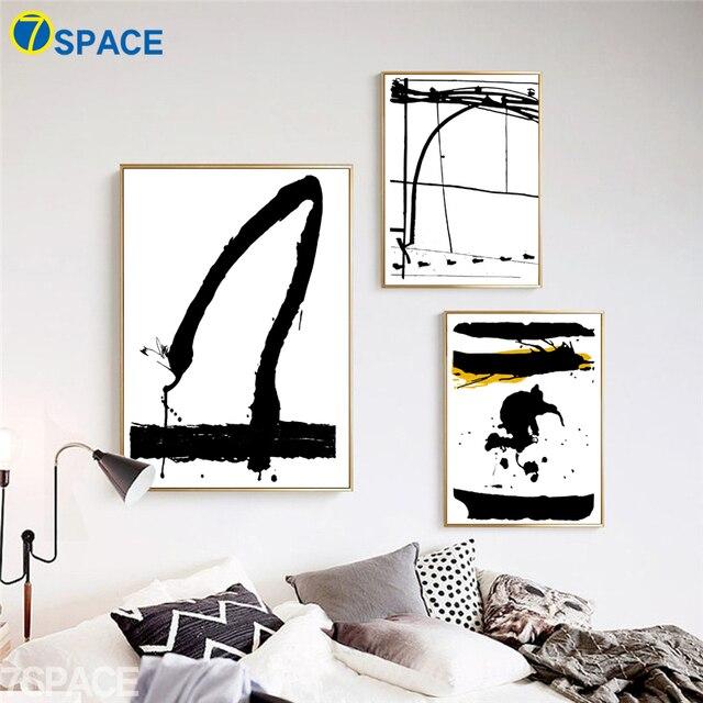 7 space wall art canvas painting modern black white graffiti canvas pop art print poster