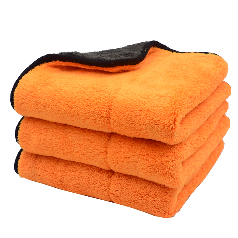 3PCS 45cmx38cm 800GSM Super Thick Plush Microfiber Car Cleaning Cloths Car Care Microfibre Wax Polishing Detailing Towels Soft