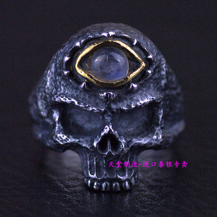 Thailand imports, retro 925 Sterling Silver Ring thailand imports skull blood new skeleton silver ring