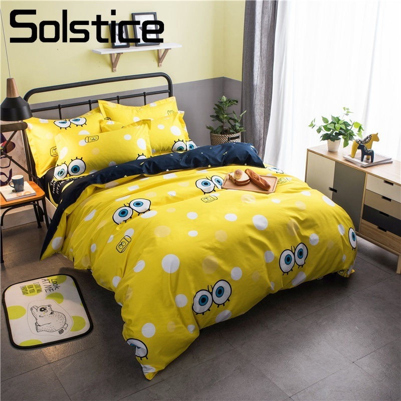 Solstice Home Textile Yellow Cartoon Duvet Cover Pillowcase Bed Sheet Boy Kid Child Girl Bedding Set Linens Double Single 3/4Pcs