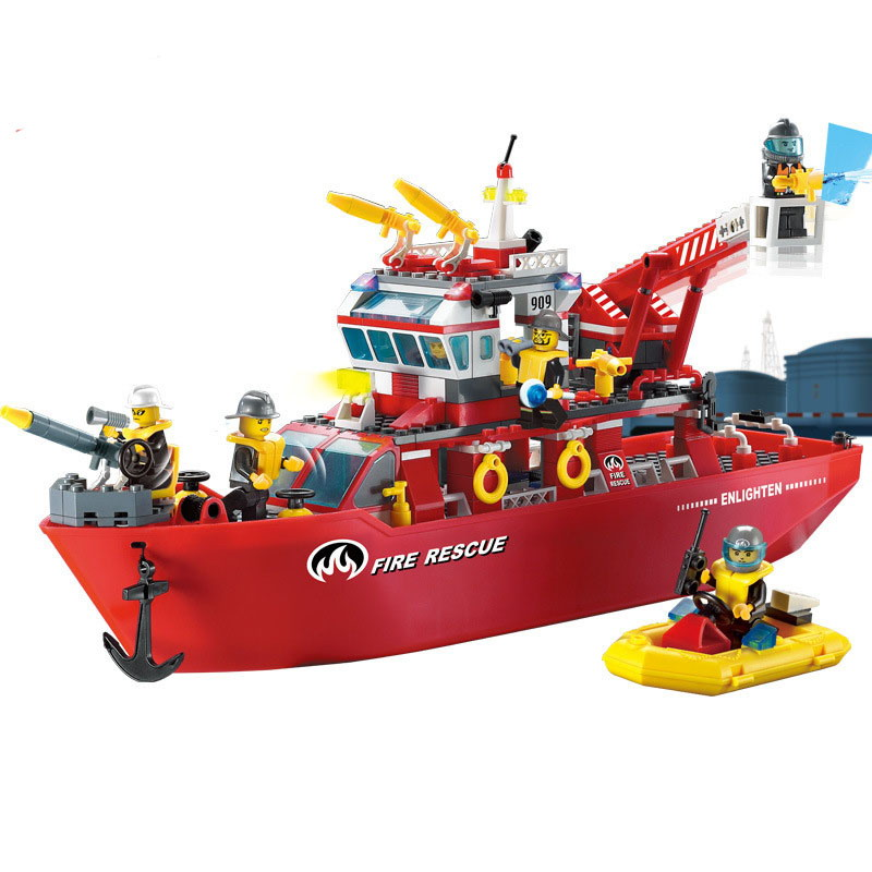 909 ENLIGHTEN Fire Fighting Police Multifunctional Fire Ship Model Building Blocks DIY Figure Toys For Children Compatible Legoe 1700 sluban city police speed ship patrol boat model building blocks enlighten action figure toys for children compatible legoe
