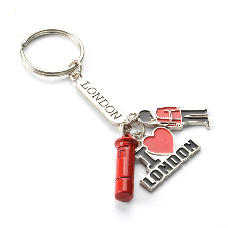 3000 Pieces/Lot UK Metal Keychain / Red Heart Souvenir Keychain / I Love London Key Chain / Paint Keychain
