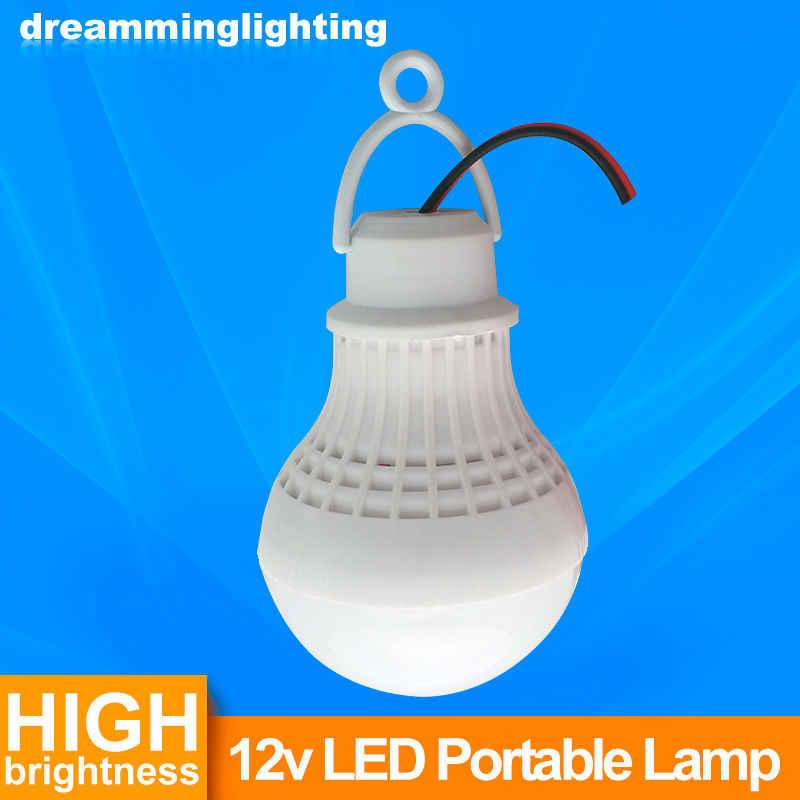 12 V DC Led ampoule SMD 5730 Portable lampe extérieure Camp tente nuit pêche suspendue lumière de secours avec crochet Crocodile 3 W 5 W 7 W 9 W