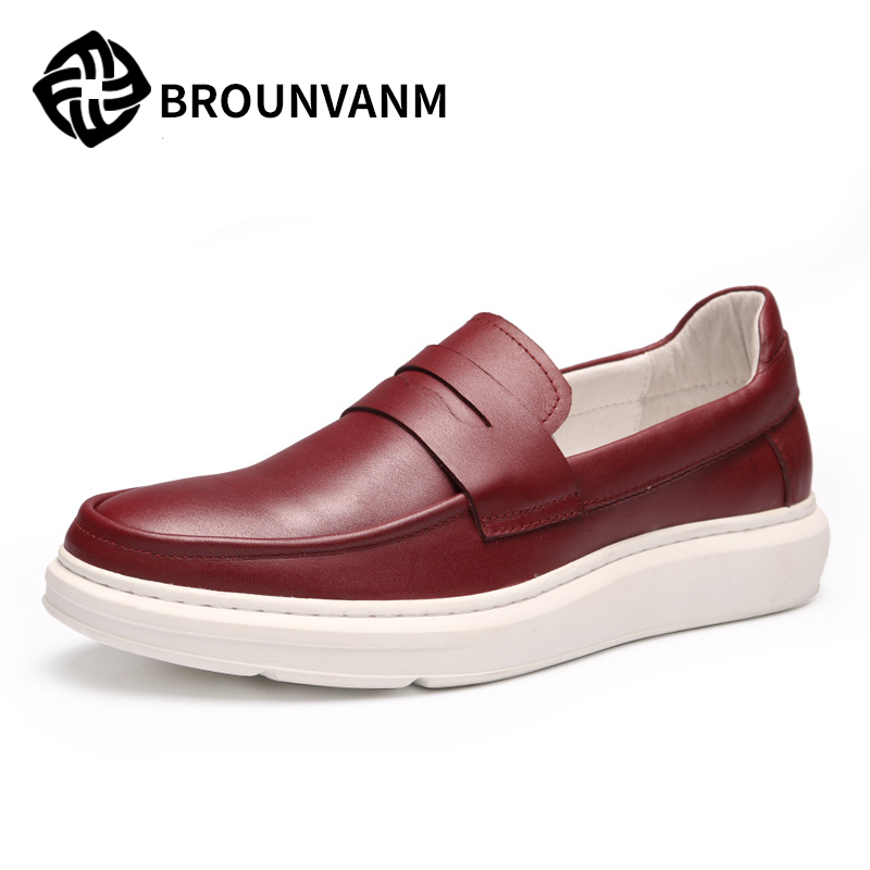 new autumn  leather loafer sets foot platform thick soled shoes men Doug , loafer shoes  men casual shoes,handmade fashion