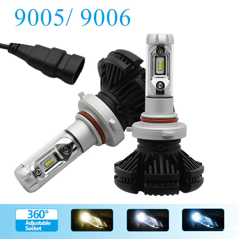 LED Bulbs 9006/HB4 9005/HB3 Car Headlight Kit Dipped Beam Main Beam Fog light powered by Lumileds Luxeon ZES chips  2pcs car headlight bulbs dipped beam