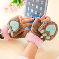 Half Finger Plush Gloves Short Fingerless Mittens Cat Claw Bear Paw Warm Cute Winter Cartoon