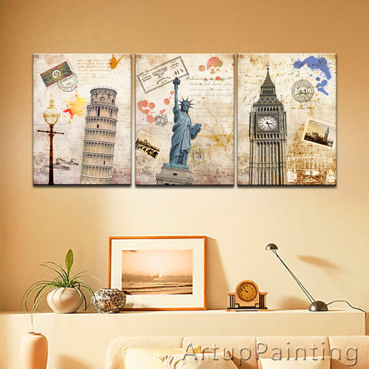 LARGE 3 Panels Art Canvas Print beautiful New York London Pairs Pisa City Home Decor Cityscape wall Decal Ready to Frame