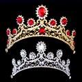 Luxo Red Nupcial Do Casamento de Cristal Tiara Tiara Princesa Coroas Rainha Pageant Prom Véu Strass Tiara Acessório Do Cabelo Do Casamento