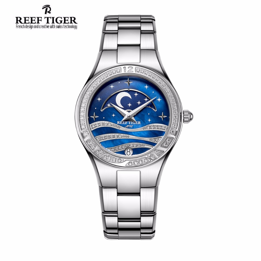 Reef Tiger/RT Fashion Causal Watches for Women Moon Phase Watch Stainless Steel Blue Wrist Watches RGA1524 2x yongnuo yn600ex rt yn e3 rt master flash speedlite for canon rt radio trigger system st e3 rt 600ex rt 5d3 7d 6d 70d 60d 5d