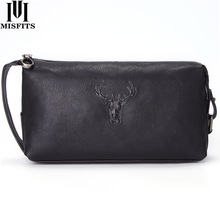 MISFITS new genuine leather cosmetic case for men fashion deer head designer makeup bags small toiletry bag travel male wash bag