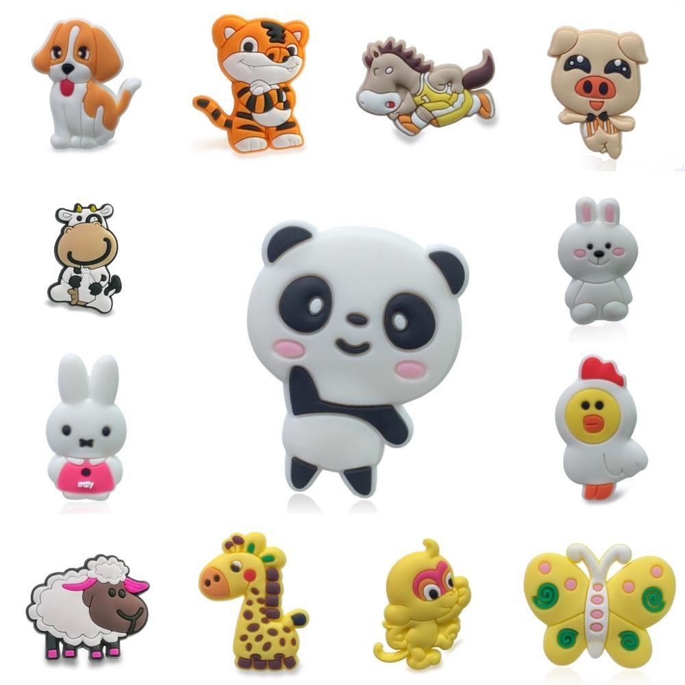 100pcs/lot Cute Animals PVC Shoe Charms Shoe Accessories DIY Shoe Decoration For Croc Jibz Kids Woman Kawaii Cute X-mas Gift