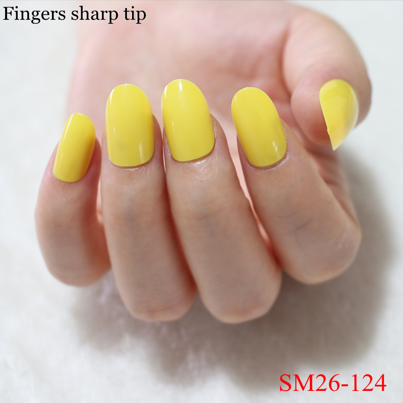 Beautiful Glamorous Yellow Fake Nails Solid Color Nail Round Head