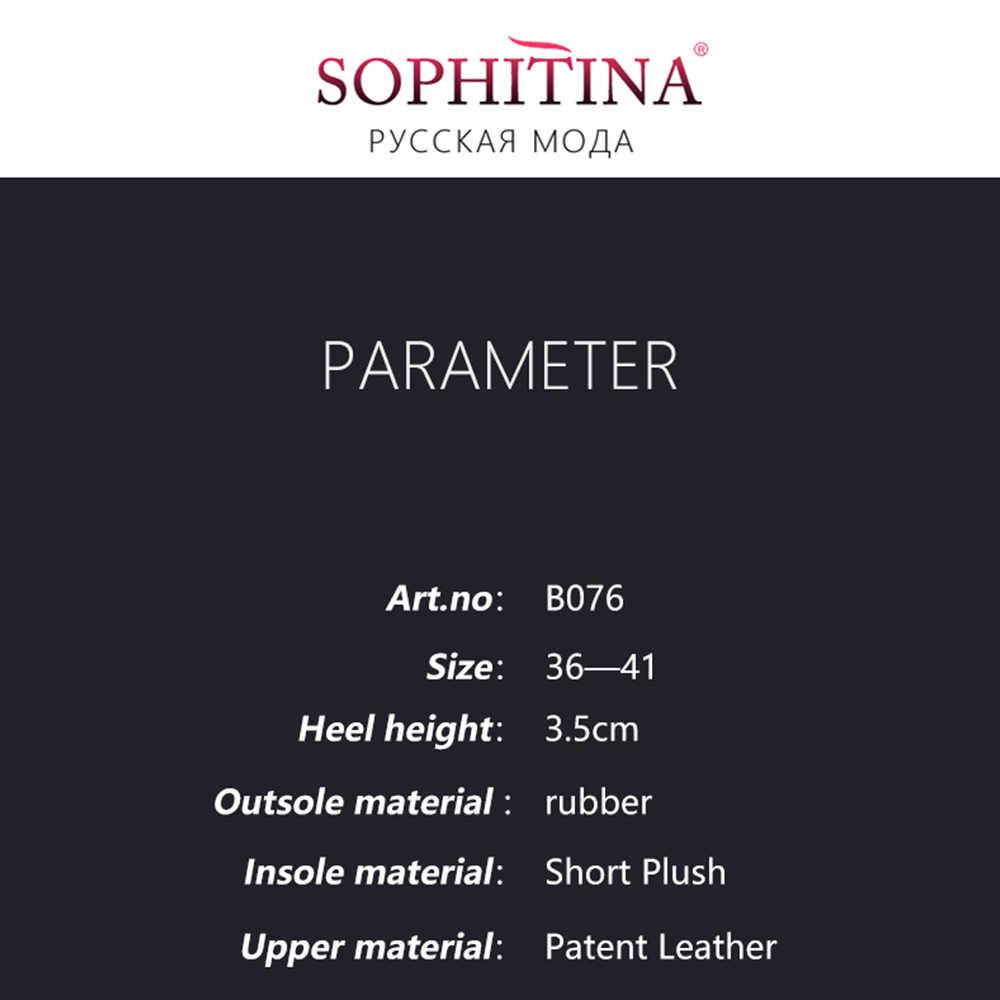 SOPHITINA Frauen Casual Stiefeletten Grund Niedrigen Heels Runde Kappe Schwarz Patent Leder Lady Schuhe Qualität Handgemachte Zipper Stiefel B76