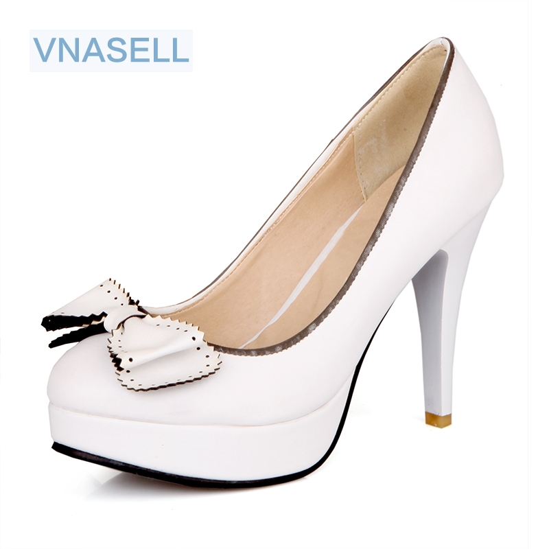 Women's Shoes High-Heels Size-30 Platform Wedding New Solid 31 32-49 Bowknot-Decoration