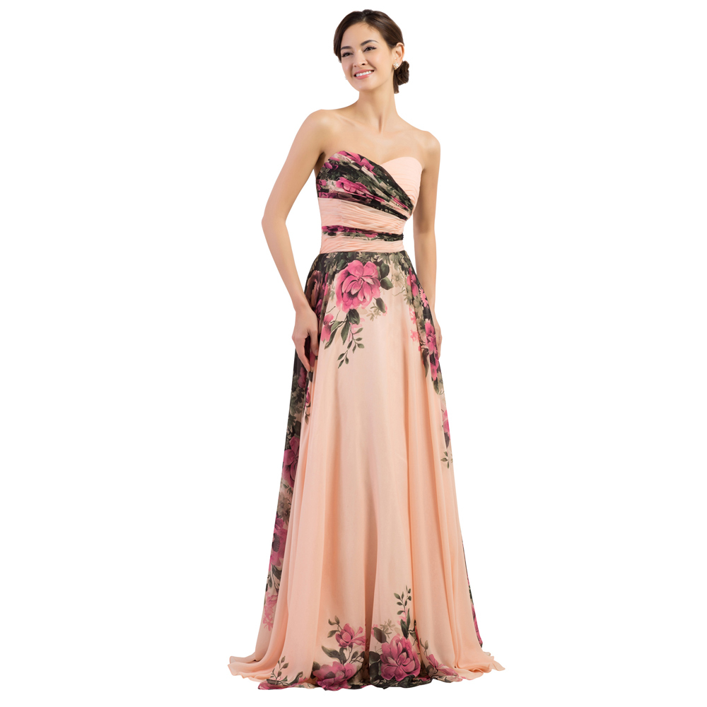 89fc4b45f8d Grace Karin Sweetheart Floral Print Chiffon Evening Dresses Formal Long  Party Vintage Gown Flower Pattern Prom Dress 2015 CL7503