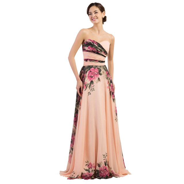 Grace Karin Sweetheart Floral Print Chiffon Evening Dresses Formal ...
