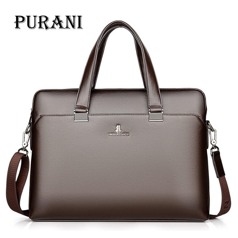 PURANI Genuine Leather Male Briefcase Men's New Fashion Messenger Shoulder Bag Male High Quality 15