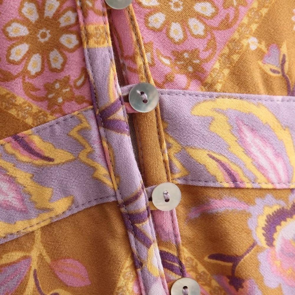 Femme Ethnique Col Robes Vacances Imprimé Marque Automne Bohême Orange À V De Boho Floral Femmes 2017 rouge Manches Maxi Robe Vêtements Longues SOwITWq00