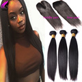 7A Peruvian Straight Virgin Hair With Closure 3 Bundles Straight Human Hair With Closure Dark Brown Lace Closure With Bundles