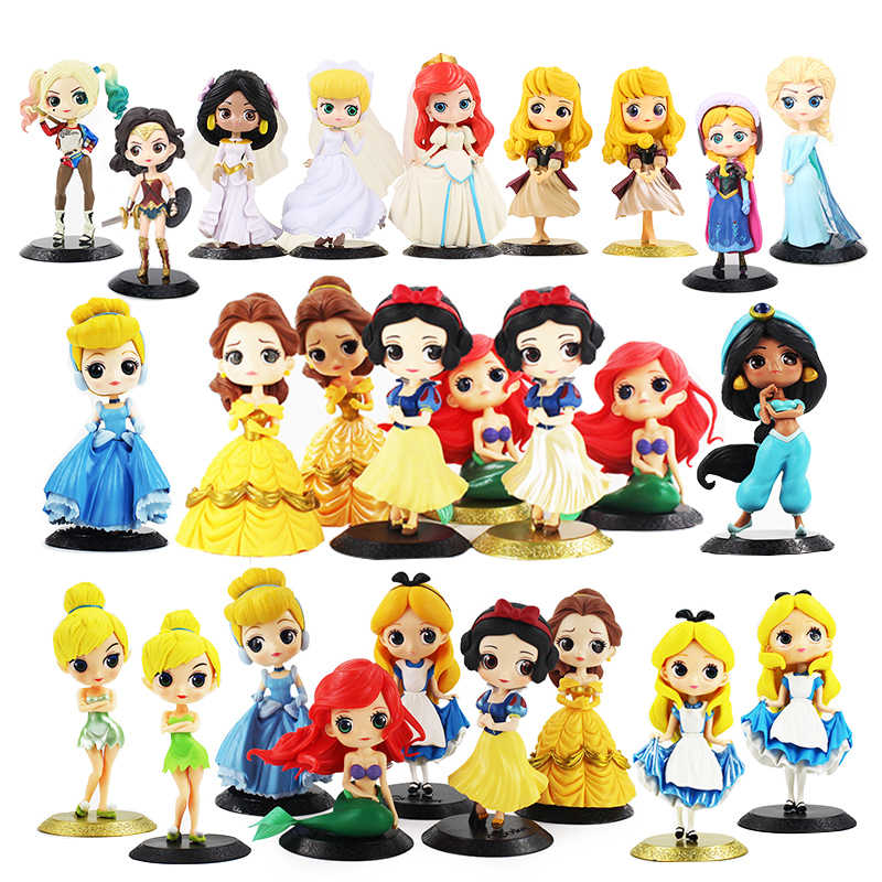 12 ซม.Qposket Q Posket Ariel Wonder Woman Harl Quinn Sleeping Beauty Mermaid Snow White Princess Rapunzel เบลล์เค้กแต่งงานของเล่น