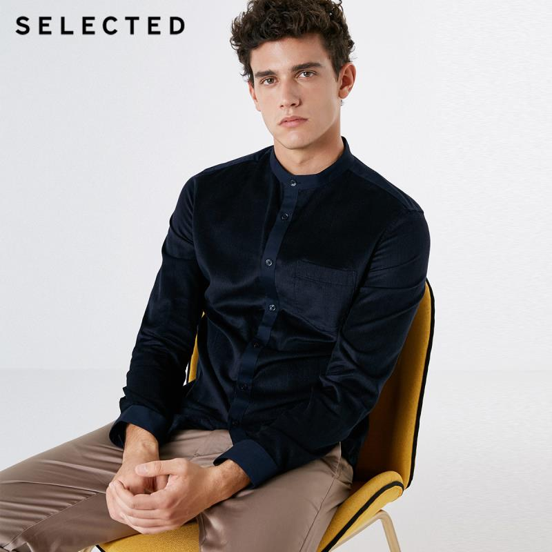SELECTED Men's Spliced Business-casual Long-sleeved Shirt S|418305544