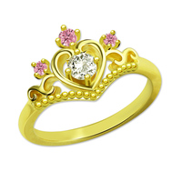 Wholesale Personalized Princess Tiara Ring with Birthstone Fairytale Crown Ring Gold Color Women Jewelry