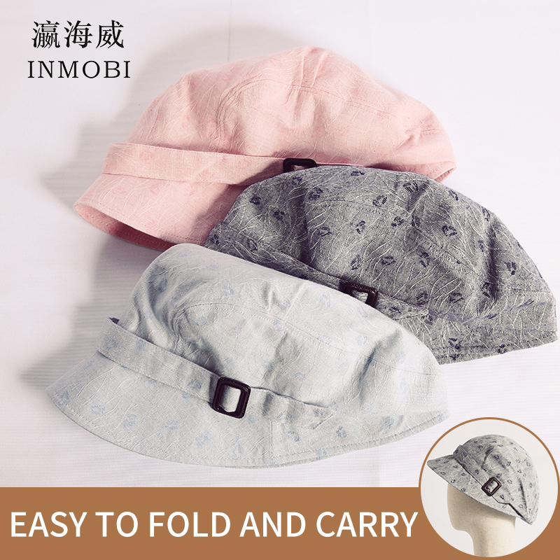 Blue Gray Pink Sun Hats Summer Women Beach Visor Hat Folding Berets Cap For Traveling Outdoor With Buckle Flat Peaked Hat 2019