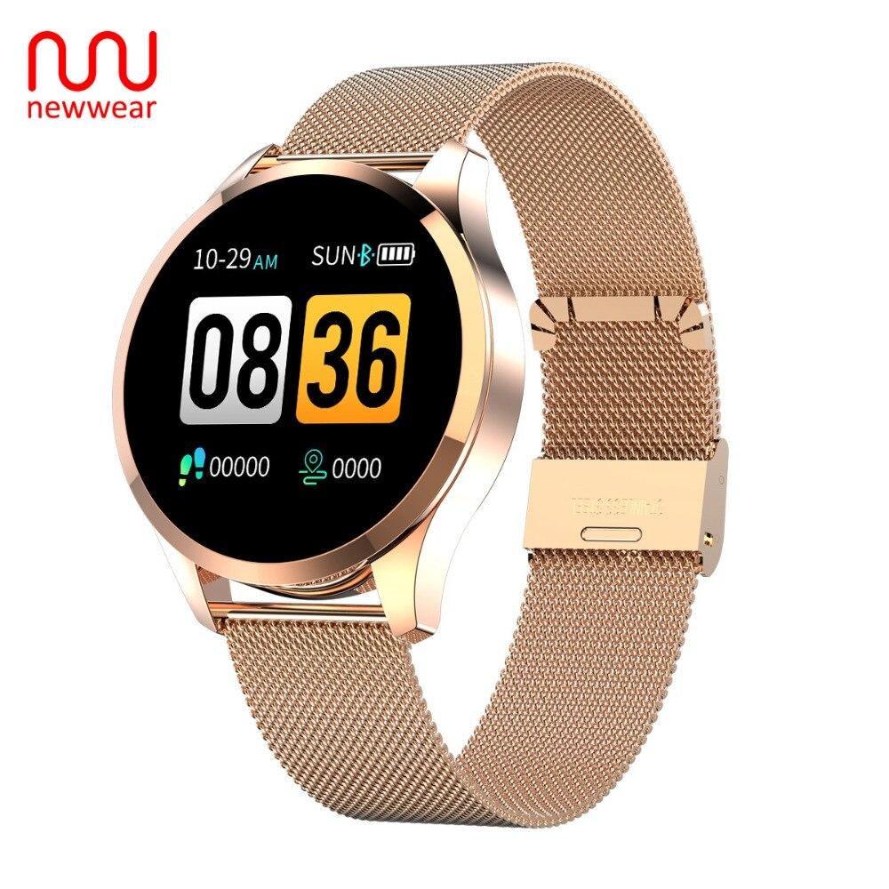 Newwear Q9 Inteligente Relógio Das Mulheres Dos Homens de Negócios de Moda À Prova D' Água Heart Rate Monitor de Pressão Arterial de Fitness Pulseira Smartwatch VS Q8
