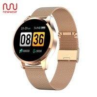 Newwear Q9 Smart Watch Men Women Fashion Business Waterproof Heart Rate Blood Pressure Monitor Fitness Bracelet Smartwatch VS Q8