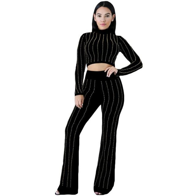 Women's 2pc Pants Set 2016 New Fashion Sexy Girls Clubwear Glittering Rhinestone Accent Black Women Two Pieces Sets A62046