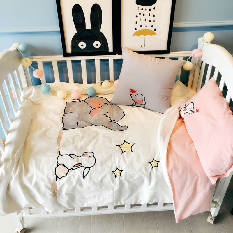 Elephant Stars Pattern Duvet Cover Set For Babies Toddlers Kids 4pcs