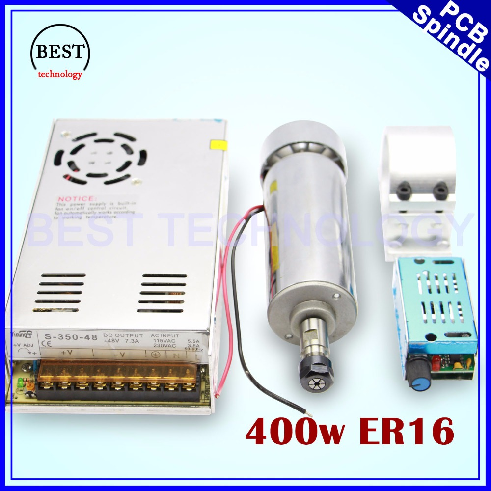 400w ER16 High Speed CNC Spindle motor kit 400w Air Cooled Spindle motor PCB Spindle for engraving milling cnc router machine 600w high speed spindle motor air cooled motor dc spindle collet for cnc engraving machine drilling 1pcs